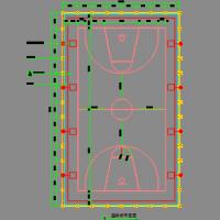 篮球场平面及围网排水沟CAD详图
