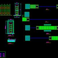 伸缩门洞平面及立面CAD图