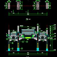 三间四柱三楼式石牌坊建筑施工图