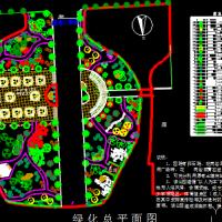 北方某公园景观绿化设计总平面图