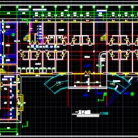 四层框架结构宾馆浴室建筑图