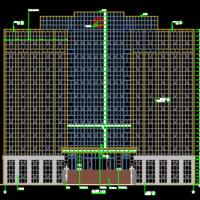 11层办公楼室外装修设计图(干挂石材 玻璃幕墙)