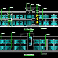 陕西2层小学教学楼建结水电全套及室外图